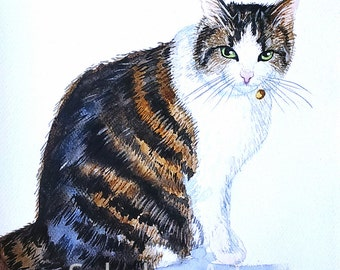 Custom Pet Portrait Custom Cat Full Body Cat Painting Watercolor Cat Cat Art Cat Lover Gift Animal Portrait Watercolor Original