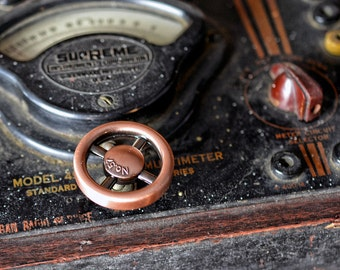 Dimmer Switch - Antique Copper Finish - Steampunk Switch - Industrial Style - Wheel Knob - Vintage - Retro