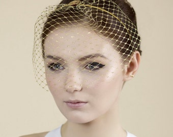 Gold Birdcage Veil, Blusher Veil, Wedding Accessory - Dita