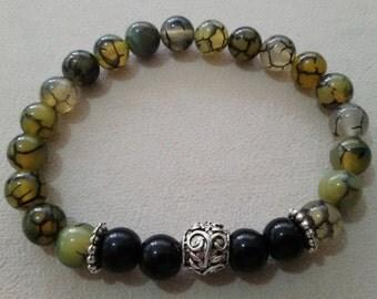 0.8mm Agate Oynx Stone Handmade Stretchable Bracelet OM034