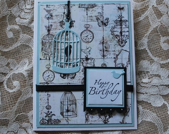 Handmade Greeting Card: OOAK Birthday Card, bird cage, blue and white and black, pocket watch