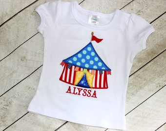 circus birthday shirt rainbow circus tent shirt for girls birthday machine embroidered applique shirt with circus primary colors baby girl