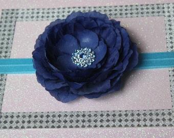 1pcs - Navy Blue Baby Girl Headbands, Hair Baby Headband, Headsbands, Flower Baby Headband, Baby Bows, Baby Headband and Bows