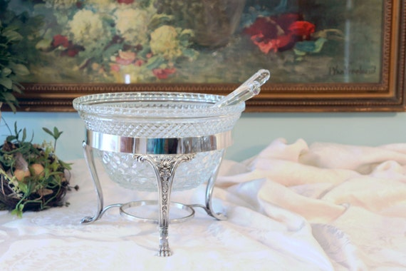glass and silver serving set wexford salad bowl silver