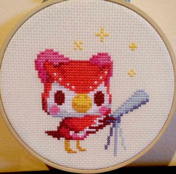 Animal crossing framed celeste cross stitch
