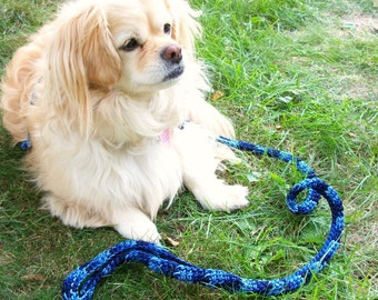 Blue Dog Leash Four Foot Length Variegated Blue.  Small Dog Leash.  BDL03