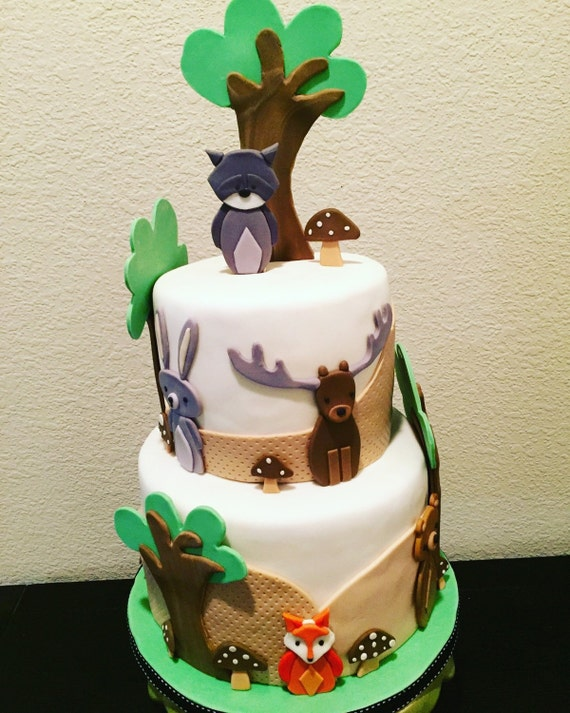 Woodland animals fondant cake decorations forest theme baby for Animal cake decoration