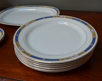 Carrollton China Antique China 1903 to 1929 Blue Band Pink Rose 22K Gold Trim -   I Ship Internationally