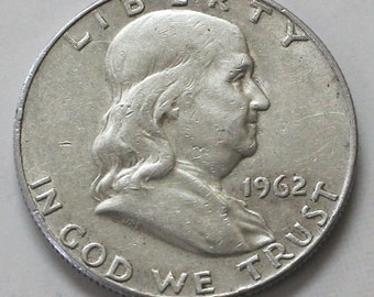 1962-D Franklin 90% Silver Half Dollar Coin  - sku 582