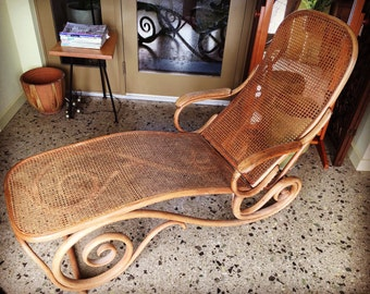SALE - Rare Early 1900's Thonet Adjustable Bentwood Reclining Lounger