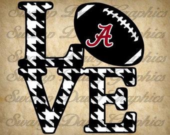 Alabama Love svg, alabama roll tide svg, football svg, silhouette, cricut, digital file, cut file, Roll Tide svg, houndstooth pattern, svg