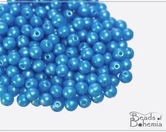 100 pcs Pearl Shine Azure Czech Round Beads 4 mm (10275)