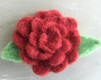 Brick Red Wool Felted Rose Pin