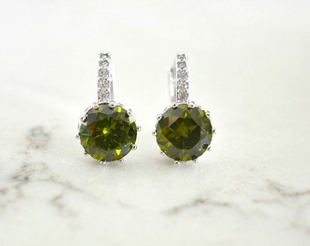 Silver Plated Round Olive Green Cubic Zirconia Lever Back Earrings. Olivine Drop Bridal Earrings. Green Olivine Wedding. Bridesmaid Gift.