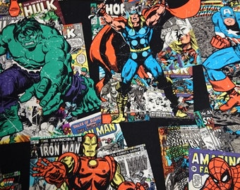 Marvel Fabric, Comic Covers, Hulk, Thor, Captain America, Spiderman