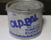 Old Pal Floating Minnow Bucket, Vintage Galvanized Bucket for Fishing