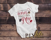 Baby Onesie | From Little Acorns Mighty Oaks Grow Thanksgiving Fall Baby Body Suit Onesie DTG Printing on Demand