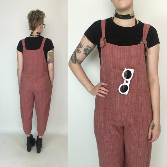 FLAX Vintage Linen Overalls Jumper Size Medium - Plaid Pink Cotton Overalls Jumpsuit - LINEN Jumper Pants Overalls Jumper Jumpsuit Size 6/8
