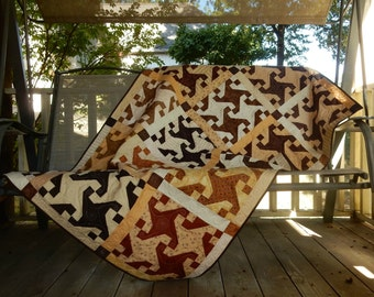 Tan and Brown Reversible Couch/Lap Quilt