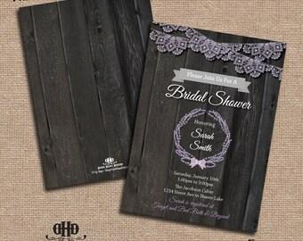 CUSTOM Bridal Shower/ Party Invitations- Vintage Lace & Lavendar
