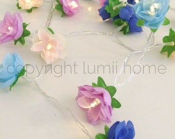 Fairy string light summer flowers rose LED easter blue mauve lavender pink cream vintage rustic wedding birthday present gift mothers day