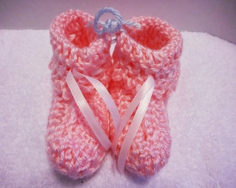 Bright Soft Pink Baby Booties