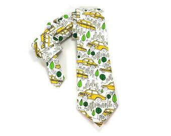 Taxi tie, taxi cab tie, taxi cab accessory, taxi driver tie, NYC tie, NYC taxi, new york taxi, city cab, yellow cab tie