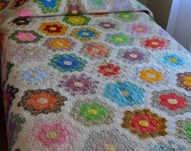 vintage 1930s Grandmother's Garden flour sack feed sack handmade quilt, twin size, hexagon, flowers, patchwork, depression, coverlet, throw