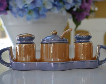 vintage lusterware condiment set with tray, peach, gold and blue, iridescent, made in Japan, salt, pepper, jam jelly mustard relish