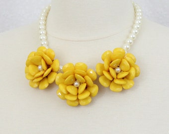 Chunky Flower Statement Necklace Bib Necklace Floral Necklace Yellow Beaded Rose Necklace
