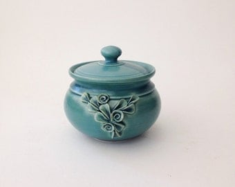 Green Matte Ceramic Jar with Lid