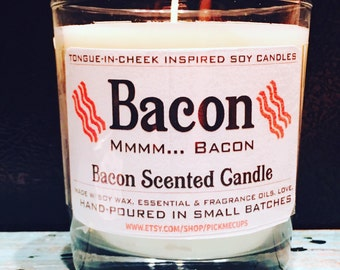 Father's Day Candle-The Grill Master- Bacon Scented Soy Candle- All Natural - 8oz - Dad Father's Day Gifts- Dad Candle Mancave