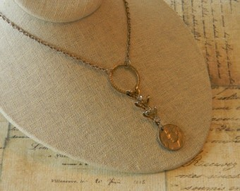 Roman Coin and Rhinestone Necklace Repurposed Upcycled