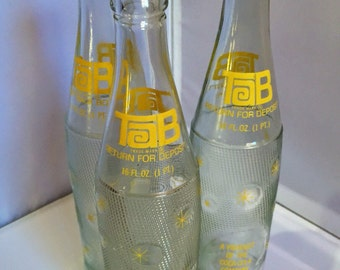 Vintage Retro 60s TAB glass bottles by Coca Cola