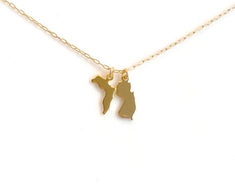 Small Gold State Necklace, Two State Gold with Heart Stamp, Silver State Necklace, Arizona Necklace, California, Texas, Ohio, Utah, Oregon
