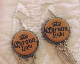 Corona Light Bottle Cap Earrings