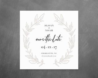 Printable Save the Dates // 5x5 save the date printable, hand drawn wreath, modern save the date, minimal wedding