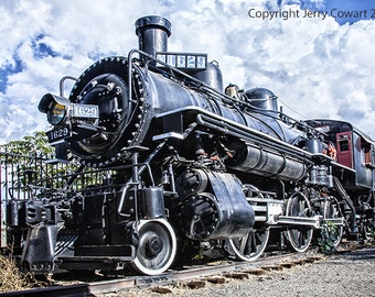 Vintage Steam Locomotive Train Engine Number 1629 Coming Down The Tracks Fine Art Photography Print Free Shipping