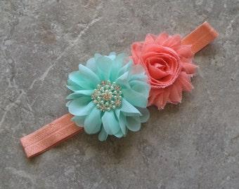 Peach aqua headband, newborn headband, baby headband, baby girl headband, flower headband, shabby chic flower