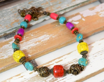 Unique Necklace of  Colorful Howlite Beads, Necklace in Yellow, Red, Purple and Turquoise, Boho Jewelry, Boho Necklace, Sundance Style, Gift