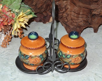 Hand Painted Salt and Pepper Set with Caddy / Salt and Pepper