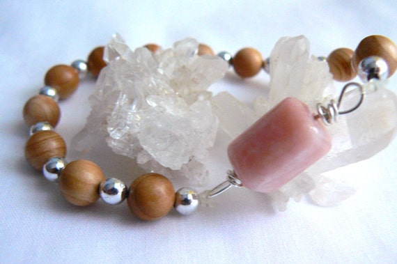 Pink Peruvian opal stretch bracelet. Women stretch bracelet. Gemstone jewelry. Wire wrapped pink opal wood bracelet. Fashion accessory gift