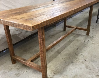 Reclaimed wood dining table with base,kitchen table , gathering table, mission style table legs