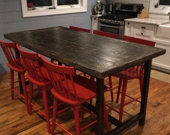 Kitchen island/ Rustic breakfast bar table /restored reclaimed wood