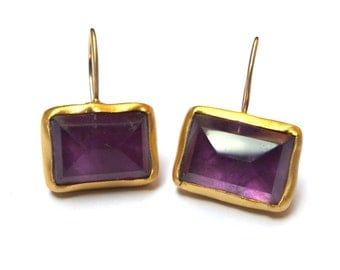 Amethyst Earrings - Gold Earrings - 22K Gold Earrings - Free Shipping!!