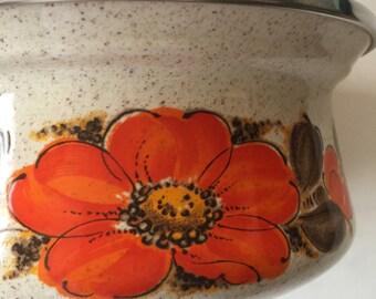 Vintage 1 qt enamel pan Orange Flower Show-Pans SANKO WARE JAPAN