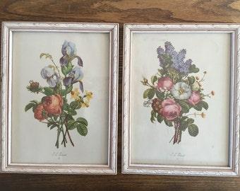 Pair (2) Vintage J. L. Prevost Floral Prints in Vintage Wood Frames