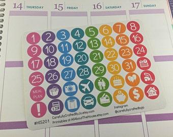 Countdown, Number Planner Stickers, Rainbow Sticker, Number, Icon Sticker, Erin Condren, Plum Paper, MAMBI, planner accessory