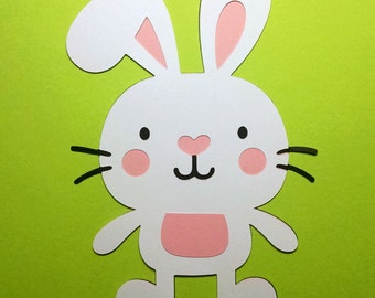 12 White Bunny die cuts - 4 inches tall
