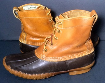 Vintage LL Bean Brown Leather & Robber Duck Rain Boot Women's Size 10